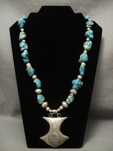 Native American Jewelry Silver Pot Vintage Navajo Spiderweb Turquoise Necklace-Nativo Arts