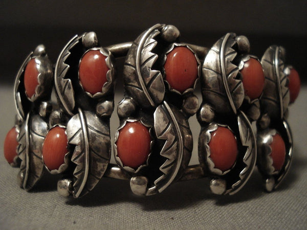 Natural Coral Leaf Galore Vintage Navajo Native American Jewelry Silver Bracelet