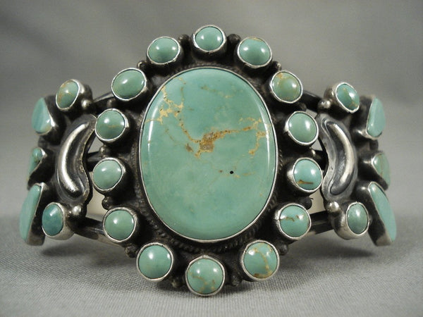 Natural Green Turquoise Sun Vintage Navajo Native American Jewelry Silver Bracelet