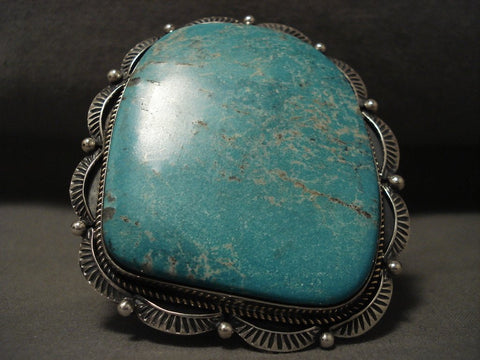 Now That Is A Big Navajo Turquoise Native American Jewelry Silver Bracelet-Nativo Arts
