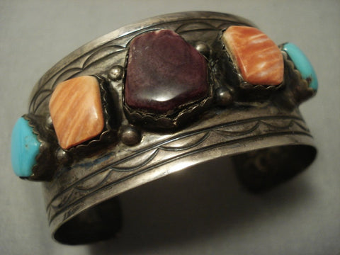 Oh My Patina! Vintage Navajo Spiny Oyster Turquoise Sterling Native American Jewelry Silver Bracelet-Nativo Arts