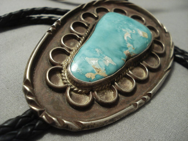 "Old Yazzie Navajo Easter Blue Turquoise Native American Jewelry Silver """"flower"""" Bolo Tie old vtg-Nativo Arts"
