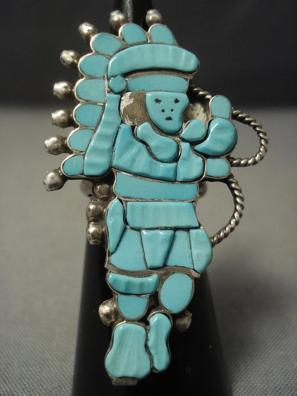 Older And Huge Vintage 'Natural Turquoise' Kachina Sterling Native American Jewelry Silver Ring-Nativo Arts