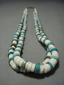 Older Vintage Santo Domingo Turquoise Shell Native American Jewelry Silver Necklace-Nativo Arts