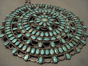 Omg One Of Largest Vintage Navajo Green Turquoise Native American Jewelry Silver Necklace-Nativo Arts