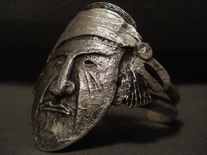 Omg Vintage Navajo Important Indian Head Native American Jewelry Silver Tufa Bracelet-Nativo Arts