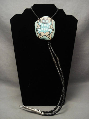 One Of A Kind Vintage Hopi Toad Rock Native American Jewelry Silver Bolo Tie-Nativo Arts