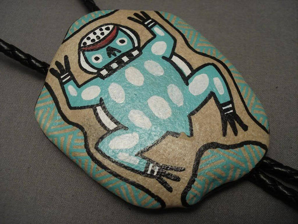 One Of A Kind Vintage Hopi Toad Rock Native American Jewelry Silver Bolo Tie
