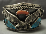 One Of Best Vintage Navajo Eagle Bisbee Turquoise Sterling Native American Jewelry Silver Bracelet Old-Nativo Arts