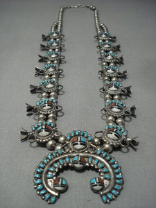 One Of Best Vintage Zuni Turquoise Sterling Native American Jewelry Silver Squash Blossom Necklace-Nativo Arts