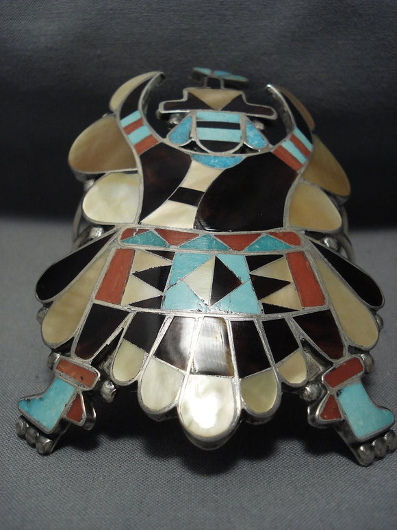 One Of Biggest And Best Vintage Zuni Kachian Turquoise Sterling Silver Bracelet-Nativo Arts