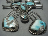 One Of Biggest Vintage Navajo Turquoise Sterling Native American Jewelry Silver Squash Blossom Necklace-Nativo Arts