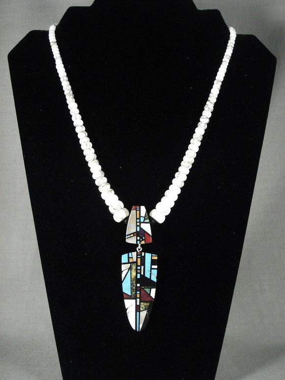 One Of Most Talented Santo Domingo Inlay Nartist Necklace-Nativo Arts