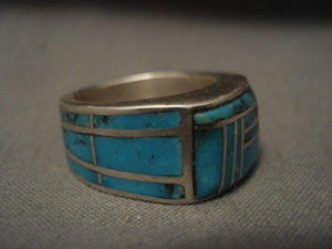 "ONE OF THE BEST """"ALL AROUND INLAY' SILVER RING OLD-Nativo Arts"