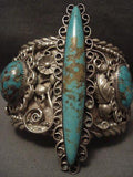 ONE OF THE BEST AND LARGEST VINTAGE NAVAJO #8 TURQUOISE SILVER BRACELET-Nativo Arts