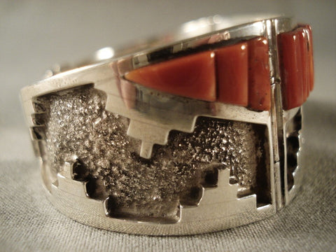 One Of The Best Clark Family Coral Native American Jewelry Silver Bracelet-Nativo Arts