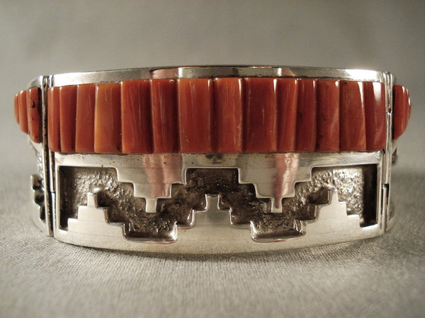 One Of The Best Clark Family Coral Native American Jewelry Silver Bracelet