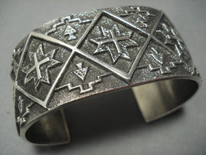 One Of The Best Navajo Aaron Anderson Sterling Native American Jewelry Silver Bracelet-Nativo Arts