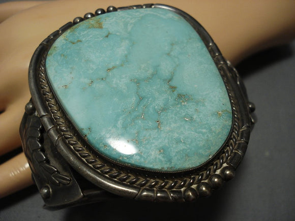 One Of The Best Vintage Navajo Carico Lake Turquoise Sterling Silver Bracelet-Nativo Arts