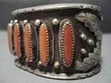 One Of The Best Vintage Navajo Coral Sterling Native American Jewelry Silver Bracelet Old Cuff-Nativo Arts