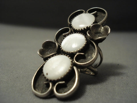 One Of The Best Vintage Navajo Mother Of Pearl Sterling Native American Jewelry Silver Ring-Nativo Arts