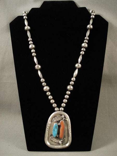 One Of The Best Vintage Navajo Native American Jewelry Silver Bead Turquoise Coral Necklace