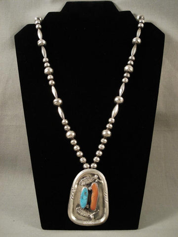 One Of The Best Vintage Navajo Native American Jewelry Silver Bead Turquoise Coral Necklace-Nativo Arts