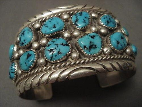 ONE OF THE BEST VINTAGE NAVAJO TOM MOORE TURQUOISE SILVER BRACELET OLD-Nativo Arts
