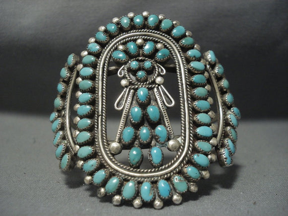 One Of The Best Vintage Navajo Turquoise Kachina Sterling Native American Jewelry Silver Bracelet Old-Nativo Arts