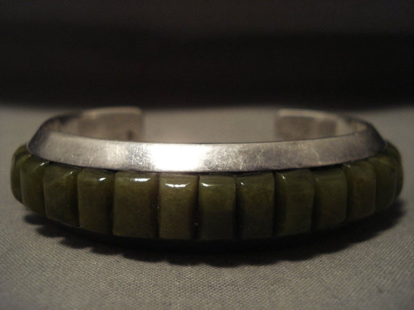 One Of The Best Vintage Navajo Veriscite Native American Jewelry Silver Bracelet