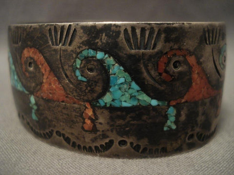 One Of The Best Vintage Singer Family Wave Turquoise Native American Jewelry Silver Bracelet-Nativo Arts