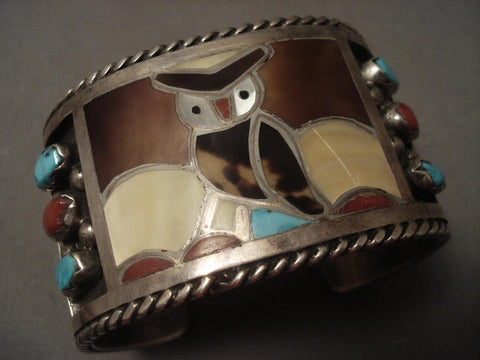 One Of The Best Vintage Zuni Owl Native American Jewelry Silver Heavy Bracelet-Nativo Arts