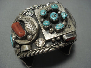 One Of The Best Yazzie Vintage Navajo Turquoise Coral Sterling Native American Jewelry Silver Bracelet-Nativo Arts