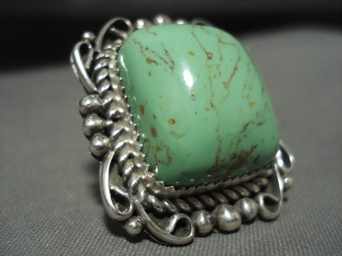 One Of The Biggest And Best Navajo Gaspeite Native American Jewelry Silver Ring-Nativo Arts