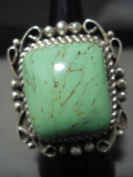 One Of The Biggest And Best Navajo Gaspeite Native American Jewelry Silver Ring