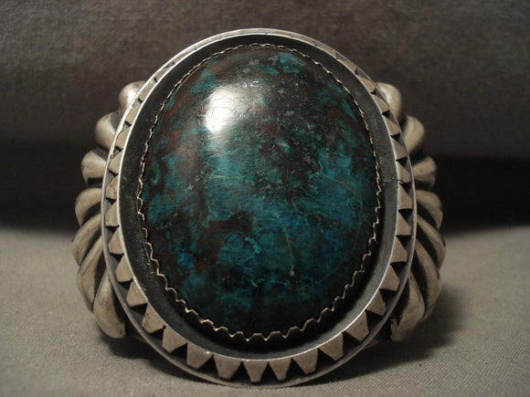 One Of The Biggest And Best Vintage Navajo Chrysocholla Native American Jewelry Silver Bracelet-Nativo Arts