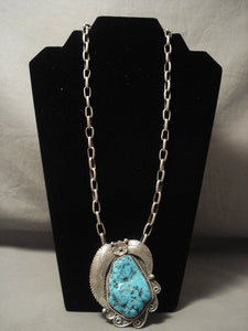 One Of The Biggest And Heaviest Vintage Navajo Native American Jewelry jewelry Old Kingman Turquoise Necklace-Nativo Arts