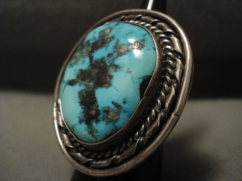 One Of The Biggest Ever Vintage Navajo Persin Turquoise Native American Jewelry Silver Ring-Nativo Arts