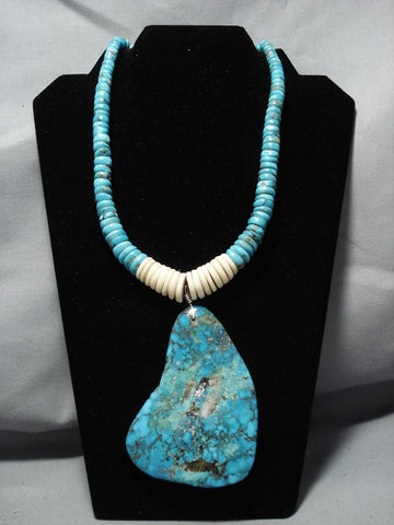 One Of The Biggest Vintage Native American Jewelry Navajo Turquoise Heishi Sterling Silver Necklace-Nativo Arts