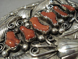 One Of The Biggest Vintage Native American Navajo Coral Sterling Silver Native American Navajo Buckle-Nativo Arts