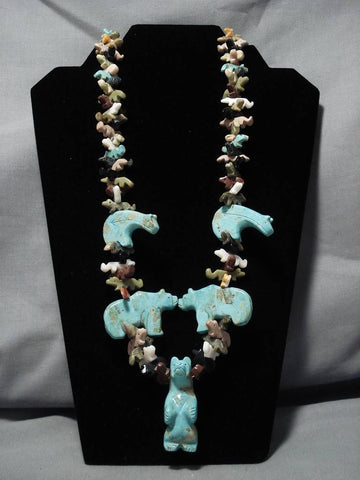 One Of The Biggest Vintage Native American Navajo Turquoise Squawtie Fetish Necklace Old-Nativo Arts