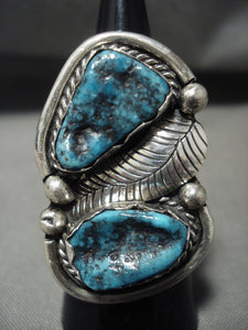 One Of The Biggest Vintage Navajo Persin Turquoise Native American Jewelry Silver Leaf Ring Old-Nativo Arts