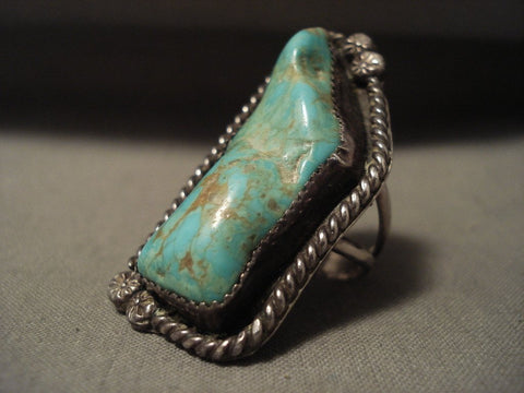 One Of The Biggest Vintage Navajo Rosyton Turquoise Native American Jewelry Silver Ring Old-Nativo Arts