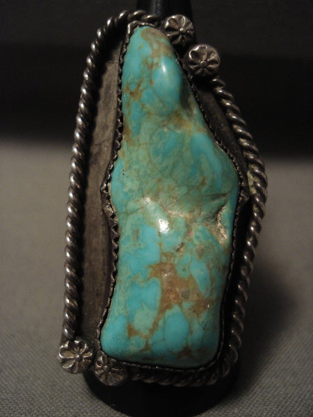 One Of The Biggest Vintage Navajo Rosyton Turquoise Native American Jewelry Silver Ring Old