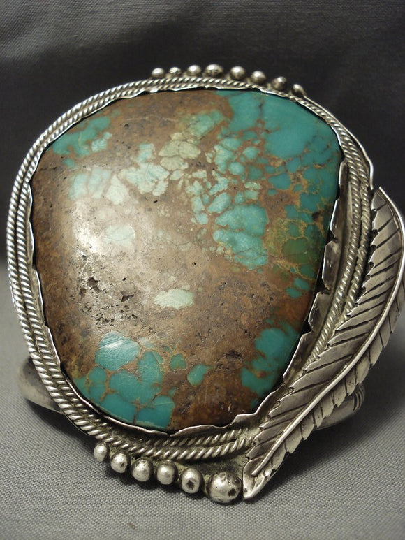 One Of The Biggest Vintage Navajo Royston Turquoise Sterling Native American Jewelry Silver Bracelet-Nativo Arts
