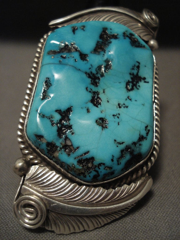 One Of The Biggest Vintage Navajo Turquoise Native American Jewelry Silver Ring Old-Nativo Arts