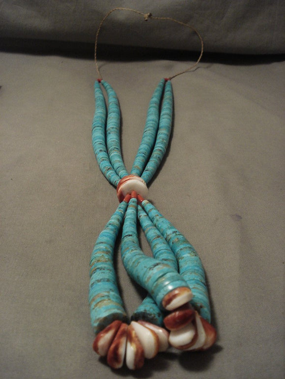One Of The Biggest Vintage Santo Domingo Turquoise Necklace-Nativo Arts