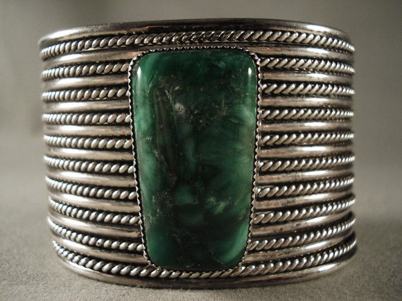 One Of The Finest Intage Navajo Malachite Native American Jewelry Silver Bracelet-Nativo Arts