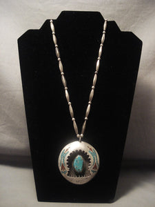 One Of The Finest Old Navajo Native American Jewelry jewelry Singer Turquoise Coral Necklace-Nativo Arts