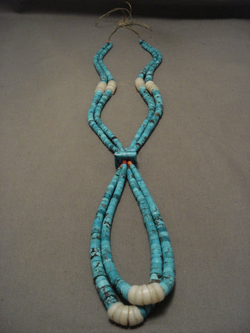 One Of The Finest Old Santo Domingo Turquoise Necklace-Nativo Arts